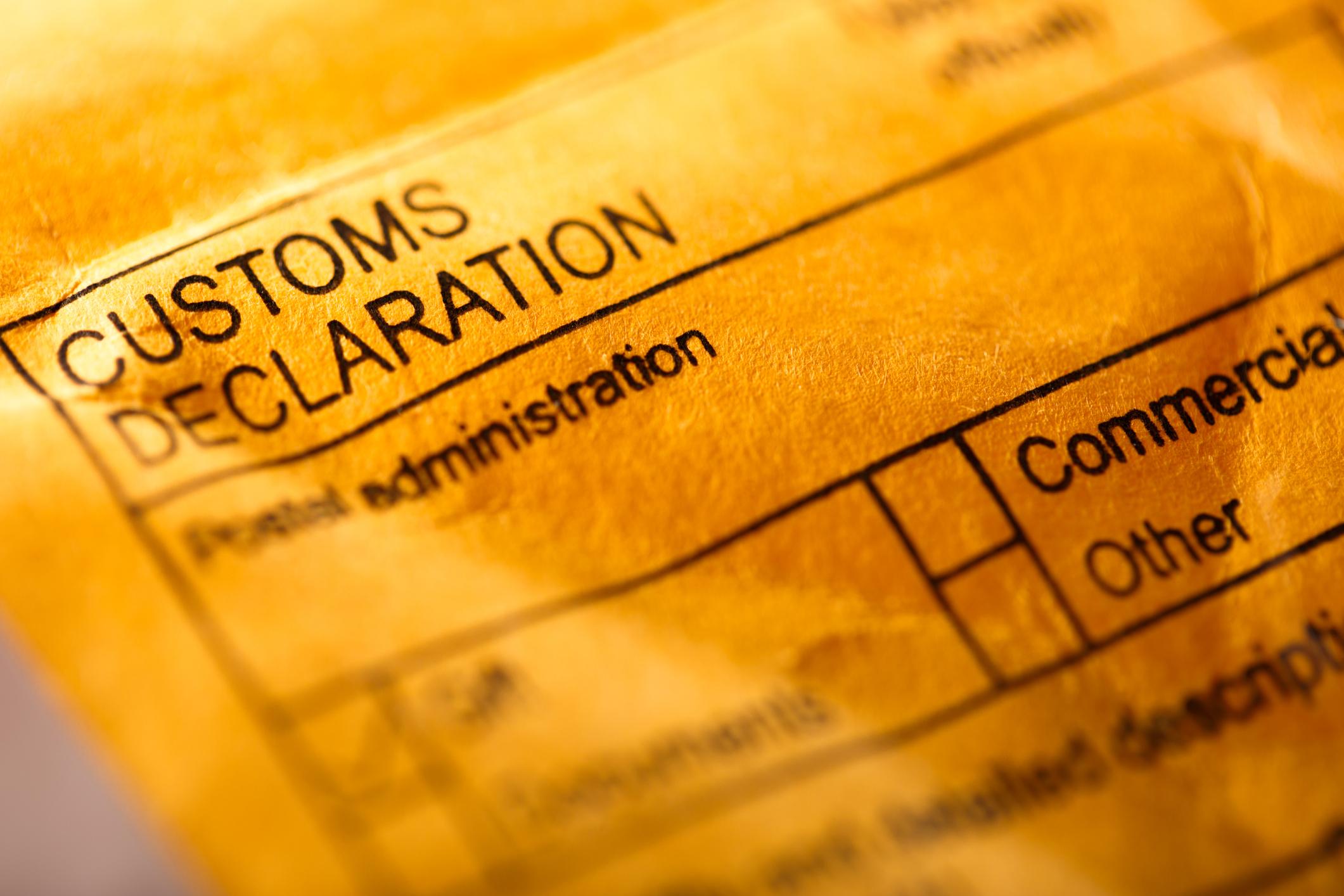 Customs declaration low value shipments